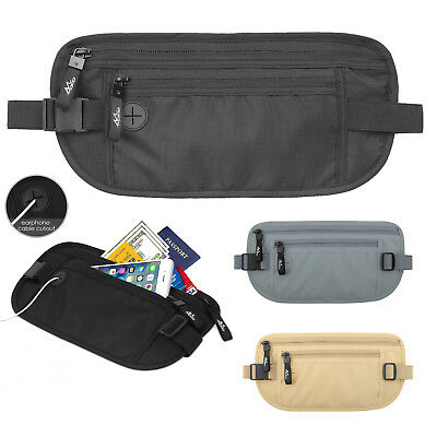 MoKo Secure Money Belt RFID Block Undercover Hidden Travel Wallet for Men Women