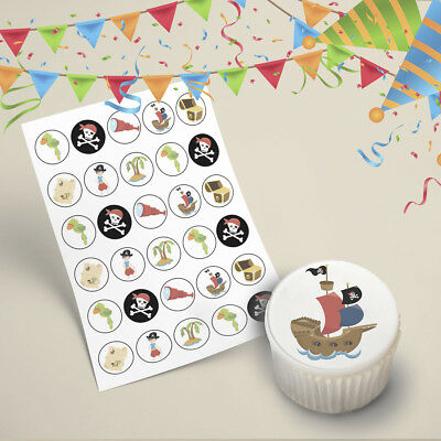 30x Pirate Edible Cake Toppers 35mm Cupcake Decorating Images