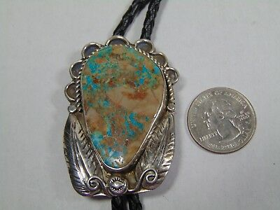 Vintage Sterling/s Navajo Crafted  Bolo Pendant W/ Turquoise & S/s Tips