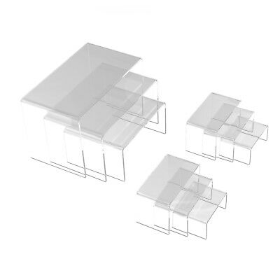 9 Clear Acrylic Risers Set Showcase Jewelry Display Stands