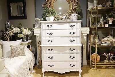 White Shabby Chic French Provincial Six-Drawer Dresser Chest