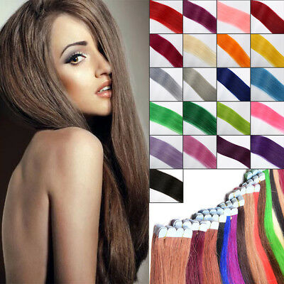60CM/24inches EXTENSIONS DE REMY CHEVEUX PU TAPE IN BANDE ADHESIVE NATURELS