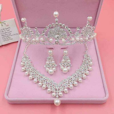 Wedding Bridal Tiara Luxury Crystal Crown + Necklace + Earrings Jewelry 3Pcs Set