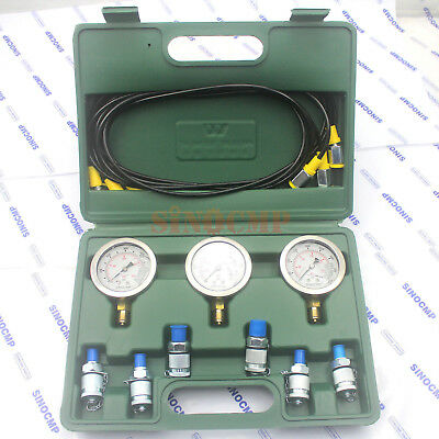 Hydraulic Pressure Test Kit Coupling Gauge Diagnostic Tester Tool 2 year wrty