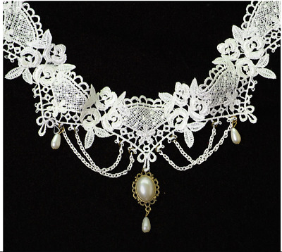 Lady Gothic White Lace Flower Collar Choker Pendant Necklace Victorian Steampunk