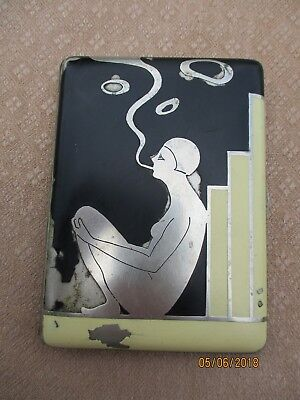 Antique French Art Deco Period Silverplated & Enameled Cigarette Case Nude Woman