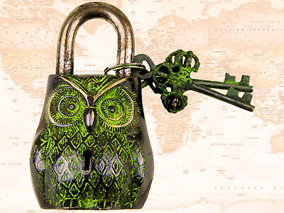 OWL FACE Padlock – OWL Brass Antique Finish- solid brass lock with stylesh key