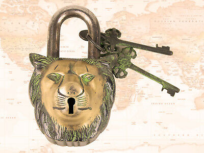 LION FACE Padlock – Lion Brass Antique Finish- solid brass lock with stylesh key