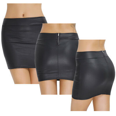 Minirock Damen Sexy Wetlook Stretch Mini Rock Freizeit Figurbetont Röcke Schwarz
