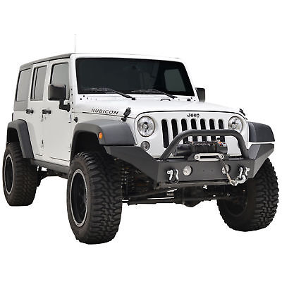 07-18 Wrangler JK Full Width Front Bumper Black W/ OE Fog Light Housing D-rings