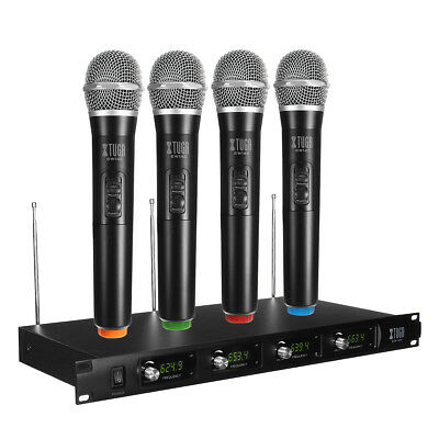 Professional UHF 4 Channel 4 Cordless Handheld Wireless Microphone Mic System AU