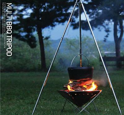 Portable Stainless Steel 4 sections BBQ Tripod Camp Fire Stand Picnic Cook Hang