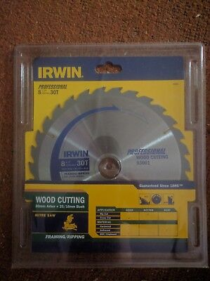"IRWIN professional wood cutting saw blade 216mm /8 1/2"" 30T Bore 30mm+25mm 16mm"