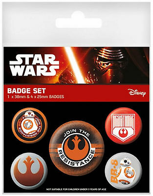 Star Wars Badge Pack Episode 7 Resistance logo BB-8 new Official 5 X button