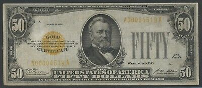 Fr2404 $50 1928 Gold Note Vf-Xf Woods / Mellon Hw3951