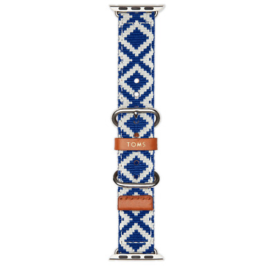NEW TOMS Blue Woven Apple Watch Band 38mm Blue White NIB
