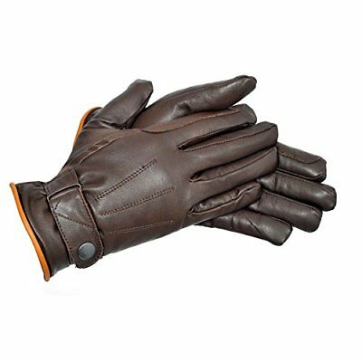 Riders Trend Warm Lining Super Leather Horse Riding Gloves - Chocolate BrownTan