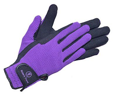 Riders Trend AmaraCotton Horse Equestrian Riding Gloves - BlackPurple, Medium