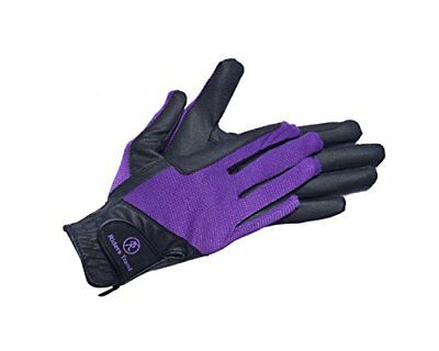 Riders Trend Stretchable Horse SerinoMesh Equestrian Riding Gloves - BlackPurp