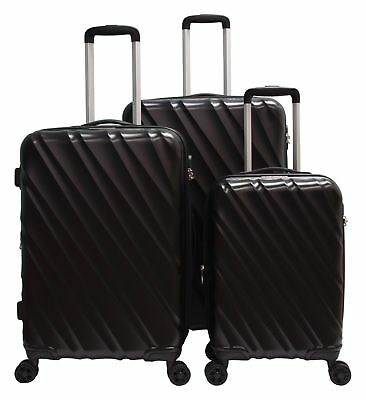 3 Pcs Luggage Travel Set Bag ABS Trolley Suitcase Expandable Lightweight Spinner