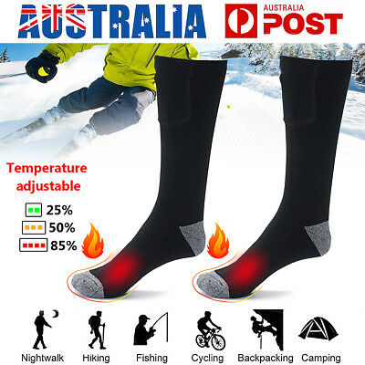 AU Rechargeable Electric Battery Warm Heated Skiing Sport Cold Feet Thermal Sock