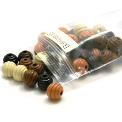 50 Big Assorted Natural Colored 15mm Round Fluted Wood Beads with Large 4mm Hole