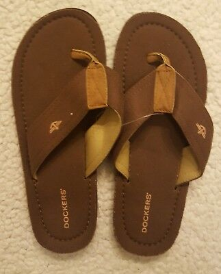 New Mens DOCKERS Size M (8 - 9) Flip Flops Sandals Shoes Brown Tan FMS5934CDK