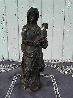 Statua In Ghisa Madonna Con Bambino In Ghisa