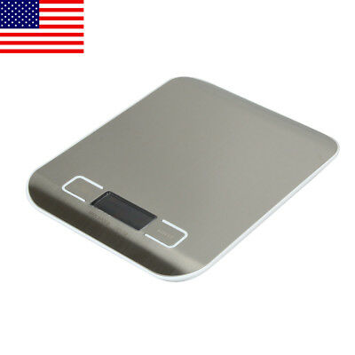 5kg 1G Digital LCD Electronic Scale Kitchen Food Weight White 7.05×5.47×0.55""