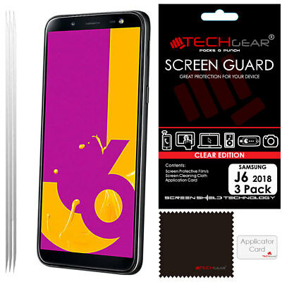 3 Pack of TECHGEAR CLEAR Screen Protector For Samsung Galaxy J6 (SM-J600) 2018