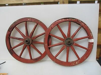 Antique Wooden Wagon Wheel Horse Cart Iron Strap Spokes Vintage Old French Pair