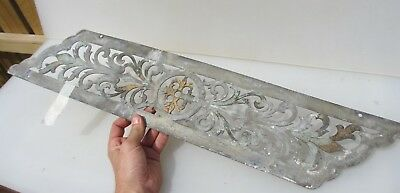 """Antique Nickel Finger Plate Push Door Handle Gilt Pierced Old French Chateau 28"""""""