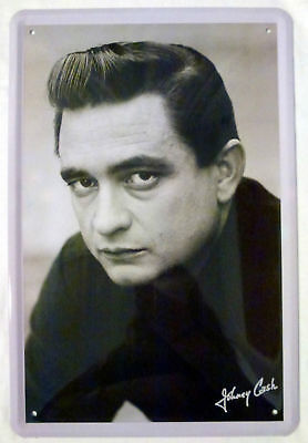 Blechschild 20x30 cm Johnny Cash Autogramm US Country Sänger Bar Metall Schild
