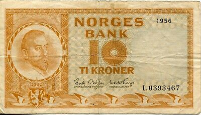1956 NORWAY Norges Bank 10 KRONER Note