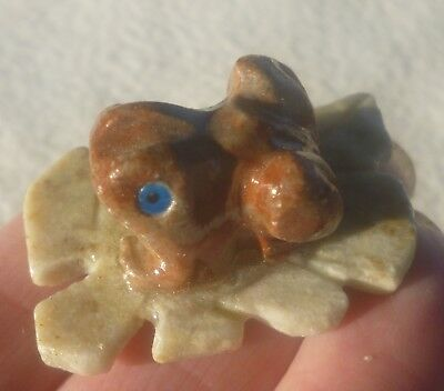 Miniature Stone 2 Pc Carving of a FROG on a LEAF from Peru