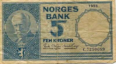 Norway Norges Bank 5 Kroner 1956