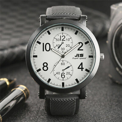 JIS Quartz Wrist Watch for Men Boy Black Rubber Band Big Dial Sport Army Watches