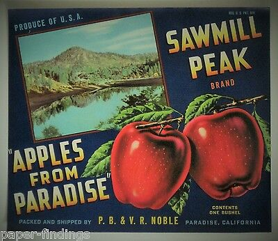 SAWMILL Peak Apples Apple Crate Label PARADISE, CA Noble Orchards