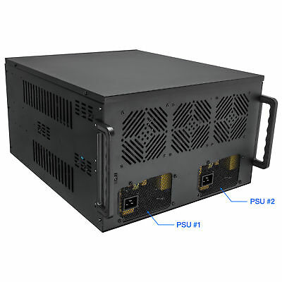 Rosewill 8 GPU Mining Case Frame, Supports Dual PSU's, 4U Chassis Miner Crypto