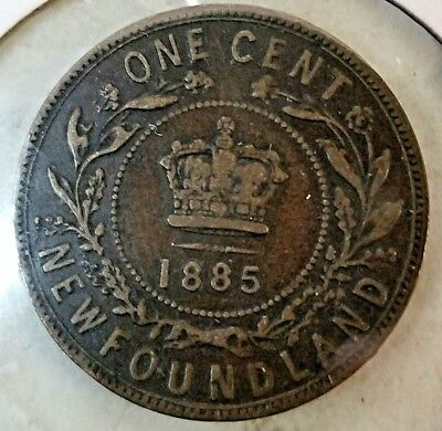 Newfoundland 1885 Key Date Large Cent  XF or so details Canadian coin