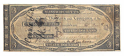 1840 The Plymouth Bank, Plymouth, Ma - $3 Obsolete Note No.446 CTFT? - 1000-CB2