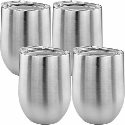 Double Wall Stainless Steel Stemless Wine Glass W/ Lids Insulated 14oz Set of 4