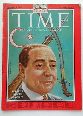 Original Vintage Time Magazine, February 3, 1958. Turkey's Premier MENDERES