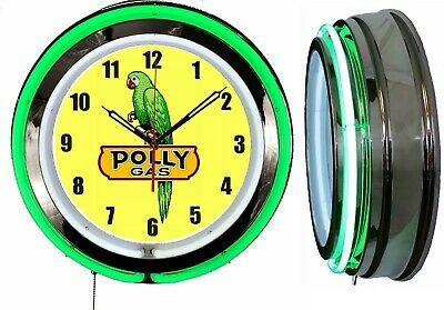 """19"""" Double Neon Clock POLY GAS with Bird Chrome Finish Choose Neon Color"""