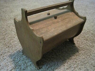 Vintage Bent Wood SEWING BOX CHEST Yarn Cabinet Wood Legs Handle
