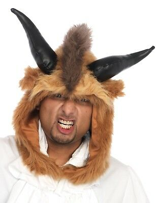 Adult Beauty Brutal Beast Hood With Horns Hat Costume Accessory Uaa1522