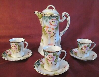 Antique NIPPON 7 Piece CHOCOLATE COFFEE SET Hand Painted BEAUTIFUL FLORAL Marked
