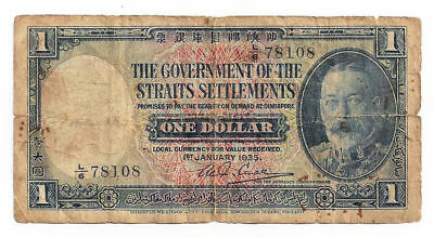 1935 The Government of the Straights Settlements, One Dollar Note