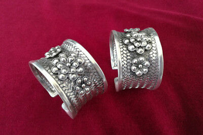 Chinese Style Handmade Miao Silver Flowers Weave bracelet pair