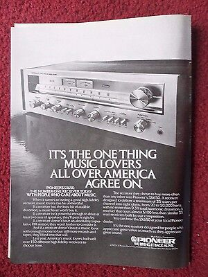 1978 Print Ad Pioneer Electronics SX650 Stereo Receiver ~ Music Lovers Agree On